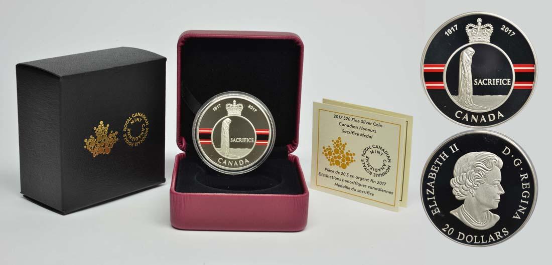 Kanada : 20 Dollar Opfer Medaille - 1. Weltkrieg  2017 PP