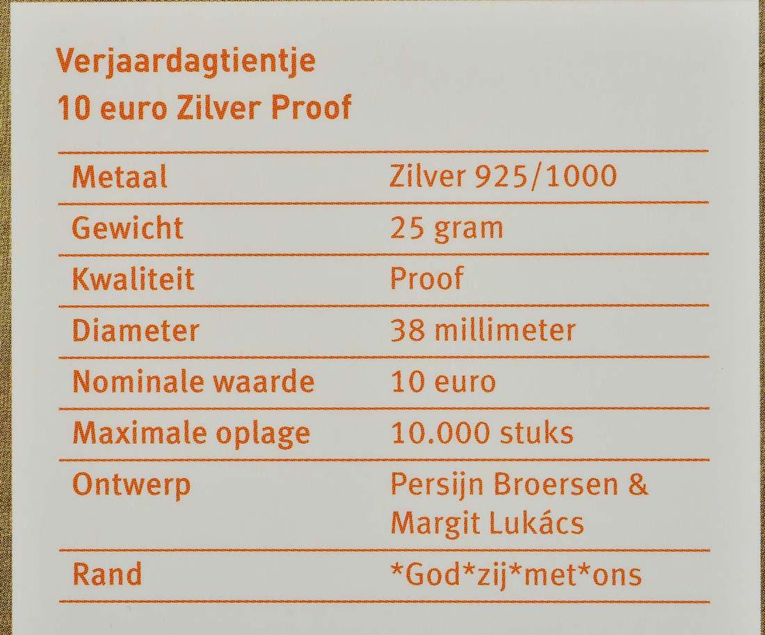 Zertifikat :Niederlande : 10 Euro 50 Jahre König Willem Alexander  2017 PP