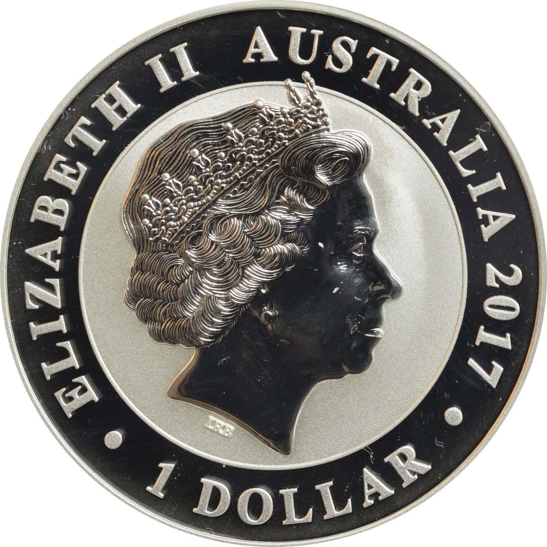 Rückseite :Australien : 1 Dollar Schwan  2017 Stgl.