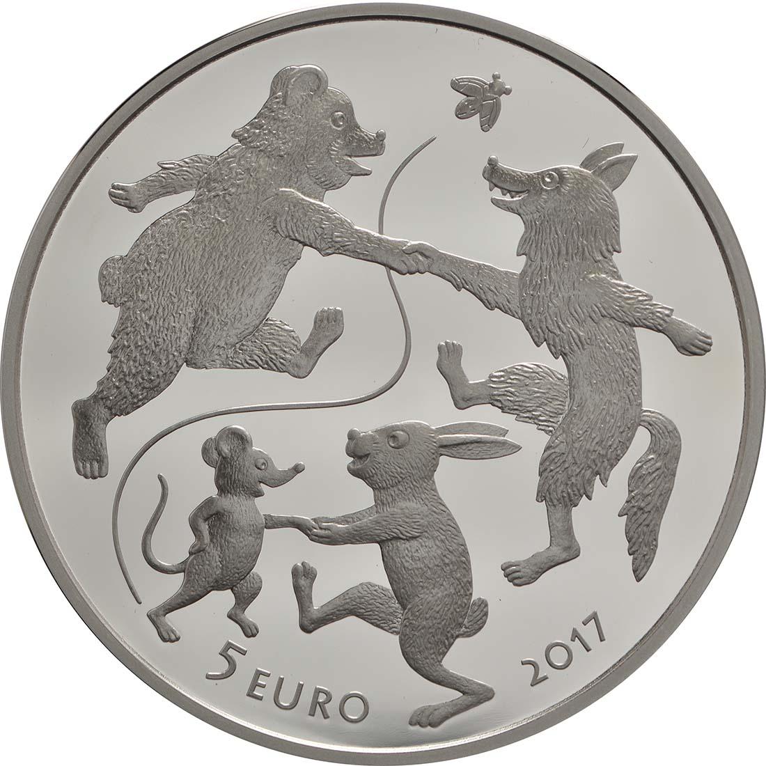 Vorderseite :Lettland : 5 Euro Der Handschuh  2017 PP