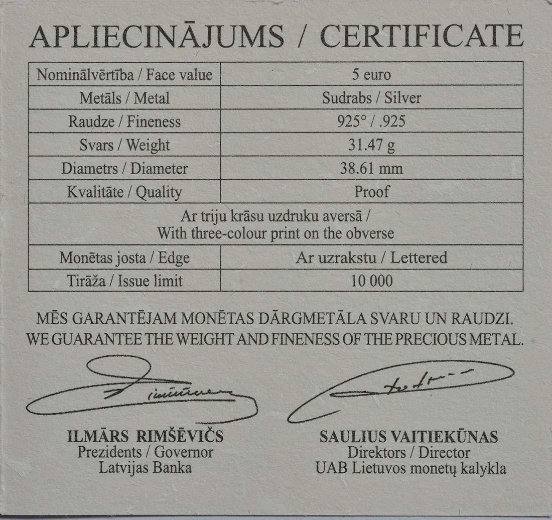 Zertifikat :Lettland : 5 Euro Der Handschuh  2017 PP