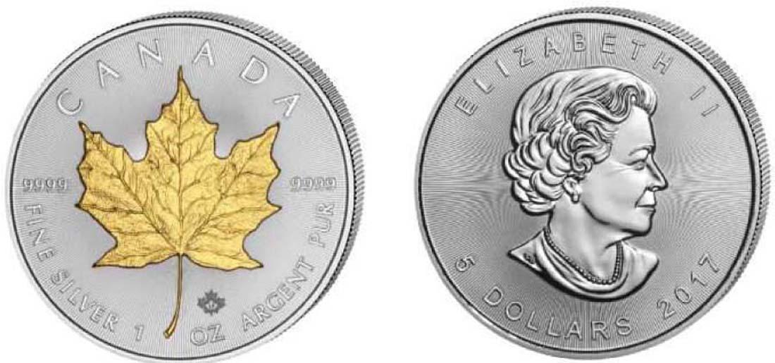 Kanada : 5 Dollar Maple Leaf - teilvergoldet  2017 Stgl.