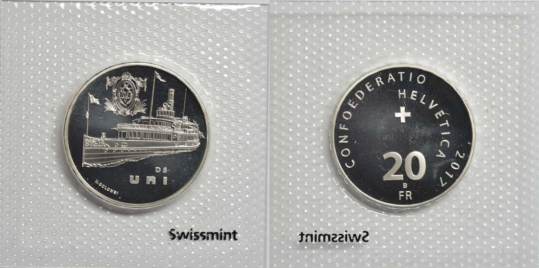 Schweiz : 20 Franken Dampfschiff Uri  2017 Stgl.