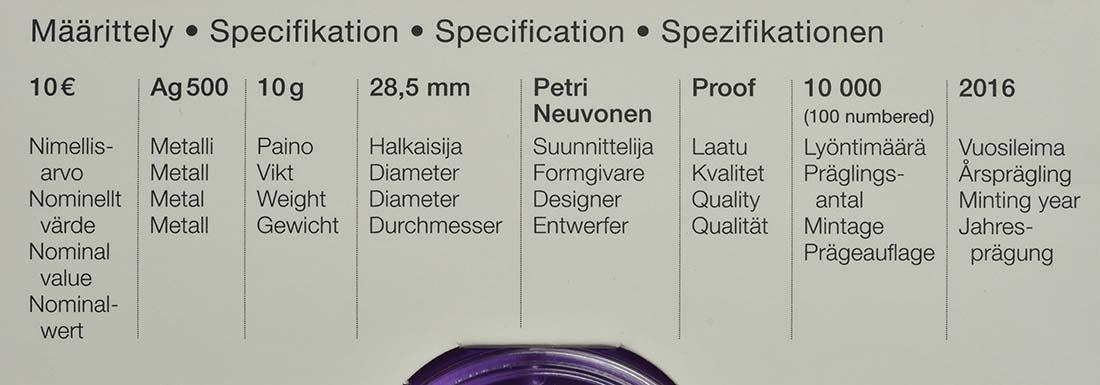 Zertifikat :Finnland : 10 Euro Uno Cygnaeus  2016 PP