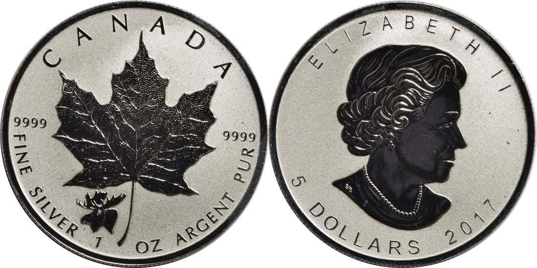 Kanada : 5 Dollar Maple Leaf - Privy Mark - Elch  2017 Stgl.