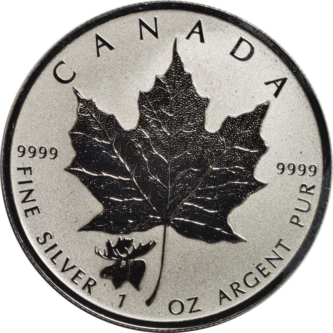 Vorderseite:Kanada : 5 Dollar Maple Leaf - Privy Mark - Elch  2017 Stgl.