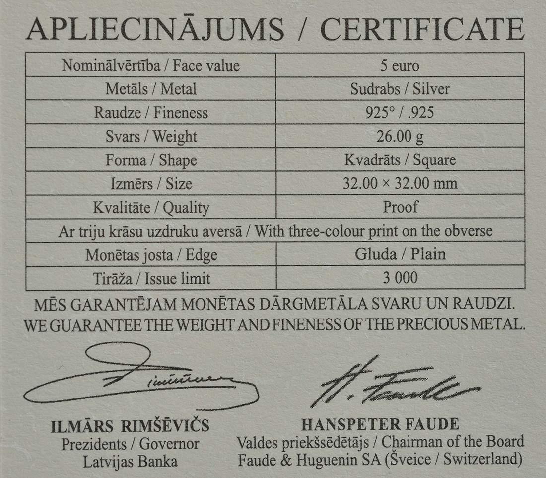 Zertifikat:Lettland : 5 Euro Latgale lettischer Kongress  2017 PP