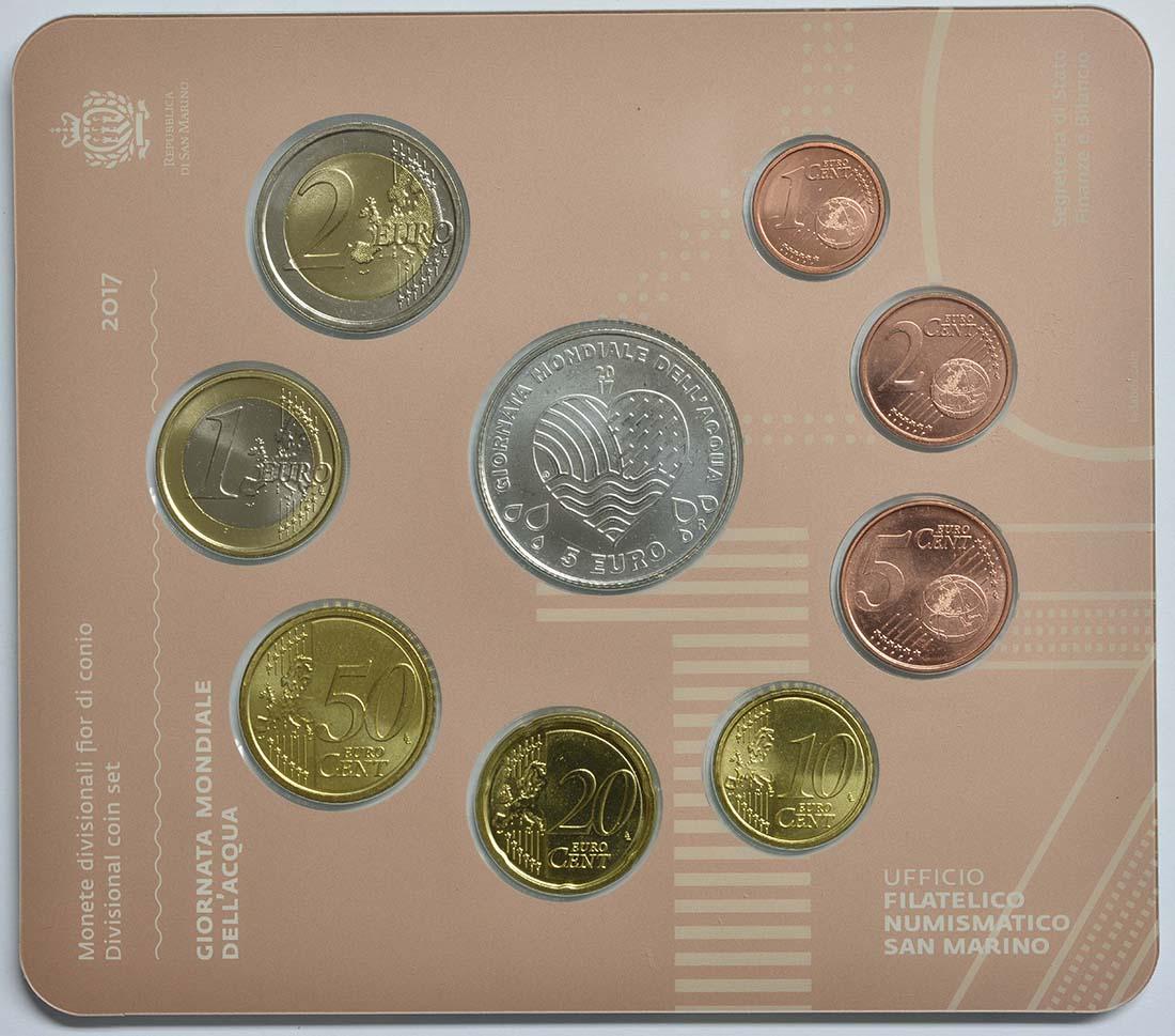 Rückseite:San Marino : 8.88 Euro KMS San Marino Welttag der Wasser  2017 Stgl.