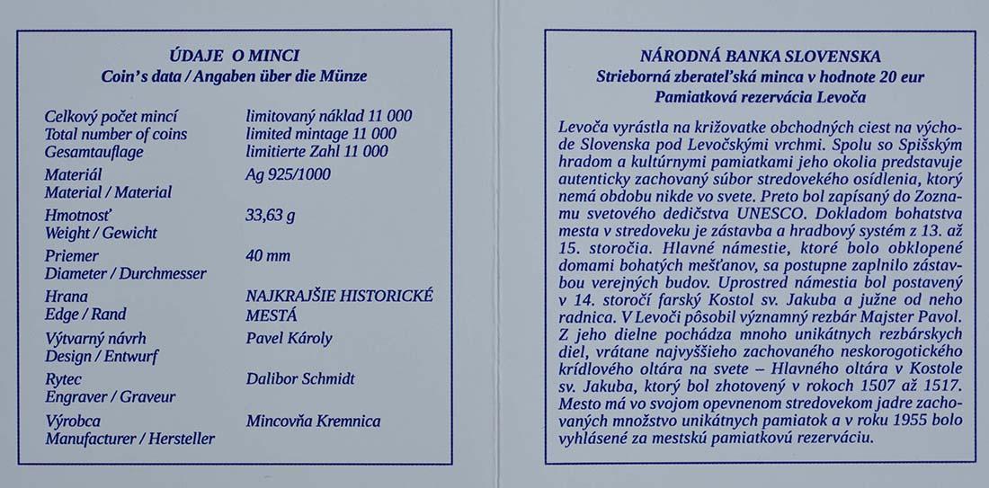 Zertifikat:Slowakei : 20 Euro St. Jakobs Kirche in Levoca  2017 PP