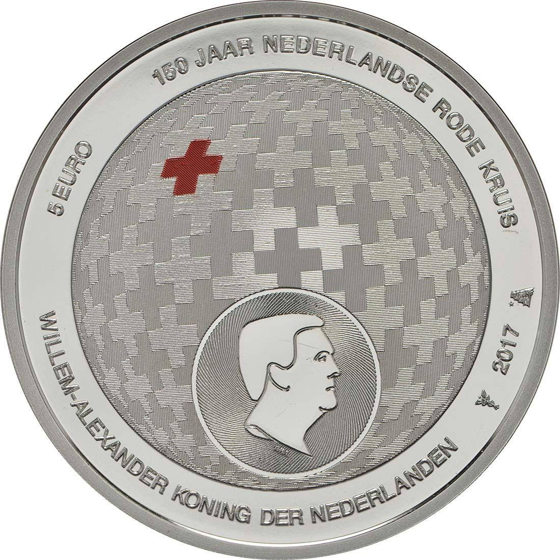 Rückseite:Niederlande : 5 Euro 150 Jahre Niederländisches Rotes Kreuz  2017 PP
