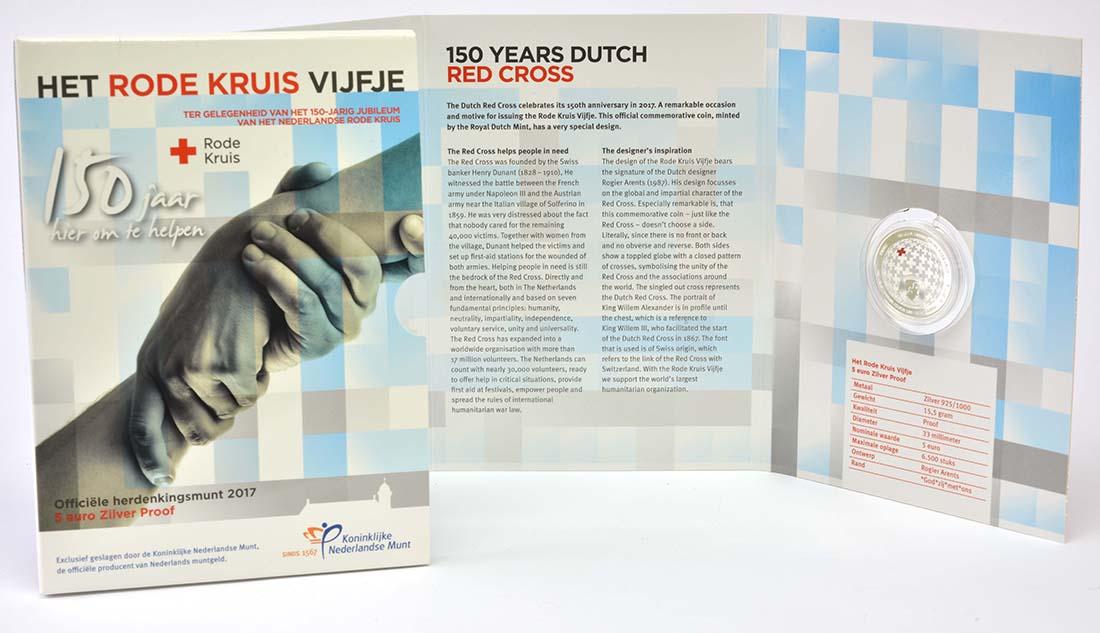 Lieferumfang:Niederlande : 5 Euro 150 Jahre Niederländisches Rotes Kreuz  2017 PP