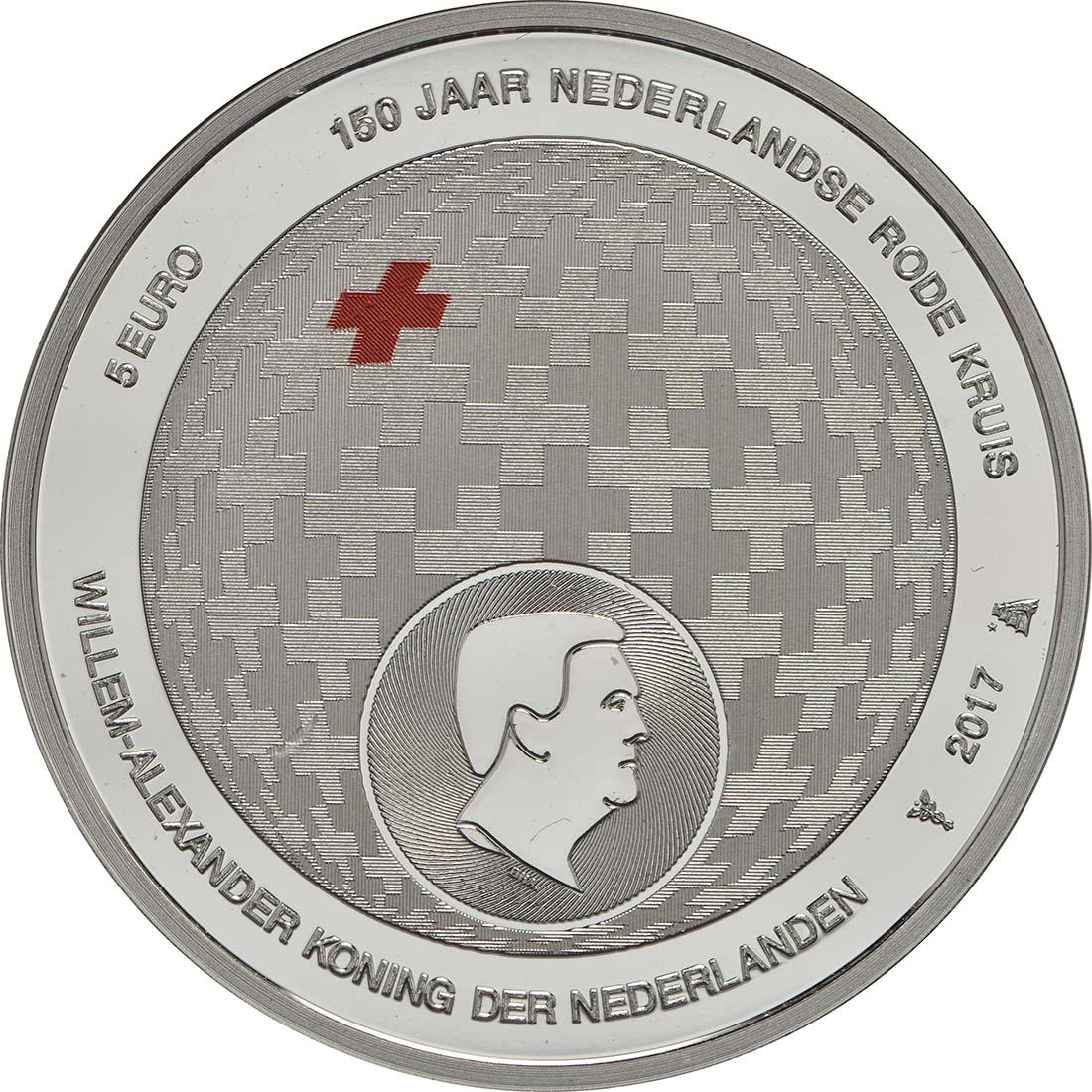 Vorderseite:Niederlande : 5 Euro 150 Jahre Niederländisches Rotes Kreuz  2017 PP