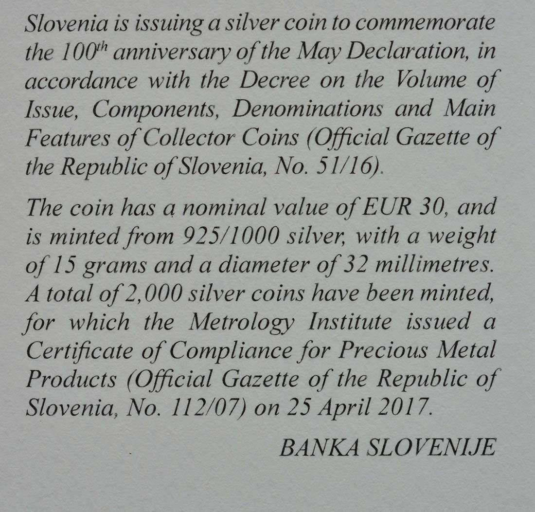 Zertifikat:Slowenien : 30 Euro 100 Jahre Mai Deklaration  2017 PP