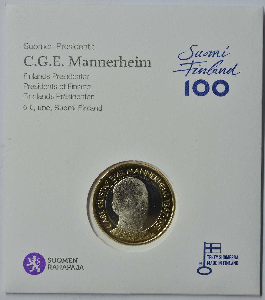 Finnland : 5 Euro Mannerheim  2017 Stgl.