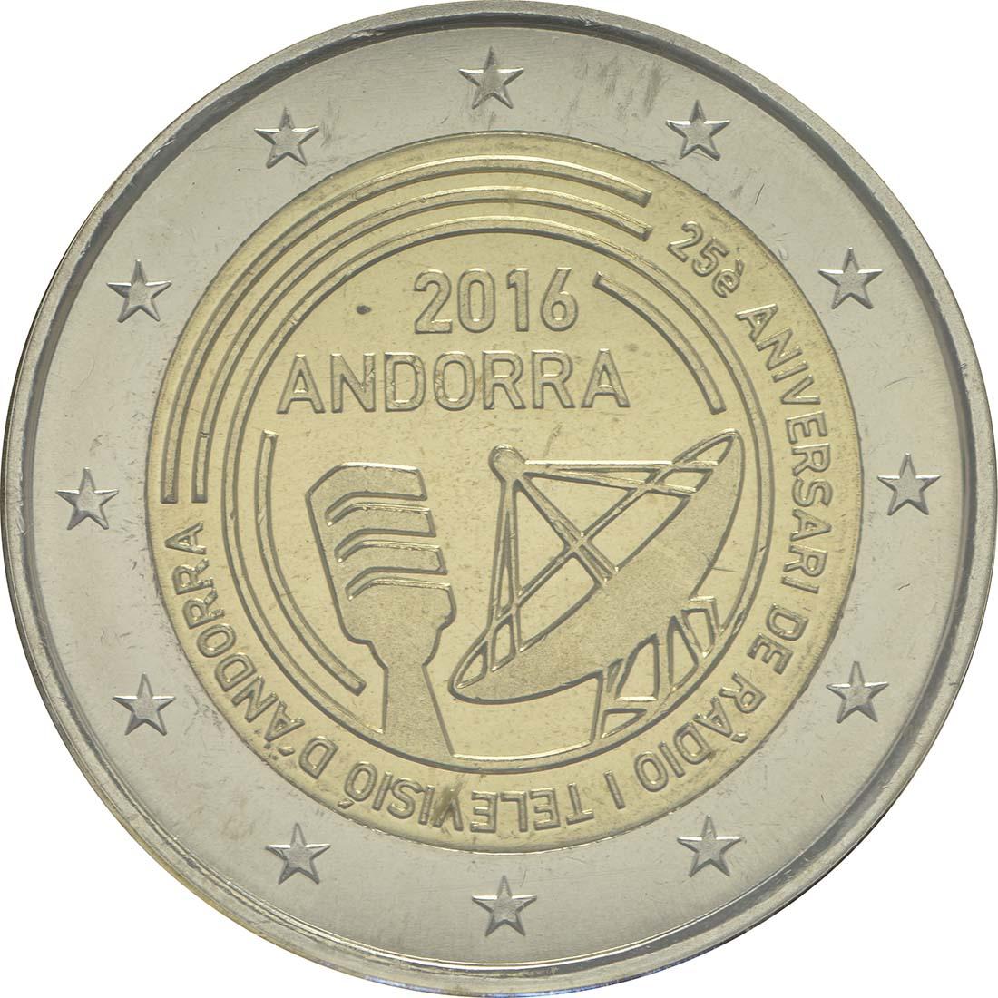 Rückseite:Andorra : 2 Euro 25 Jahre öffentlich-rechtlicher Rundfunk in Andorra  2016 Stgl.