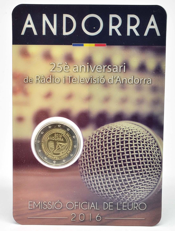Lieferumfang:Andorra : 2 Euro 25 Jahre öffentlich-rechtlicher Rundfunk in Andorra  2016 Stgl.