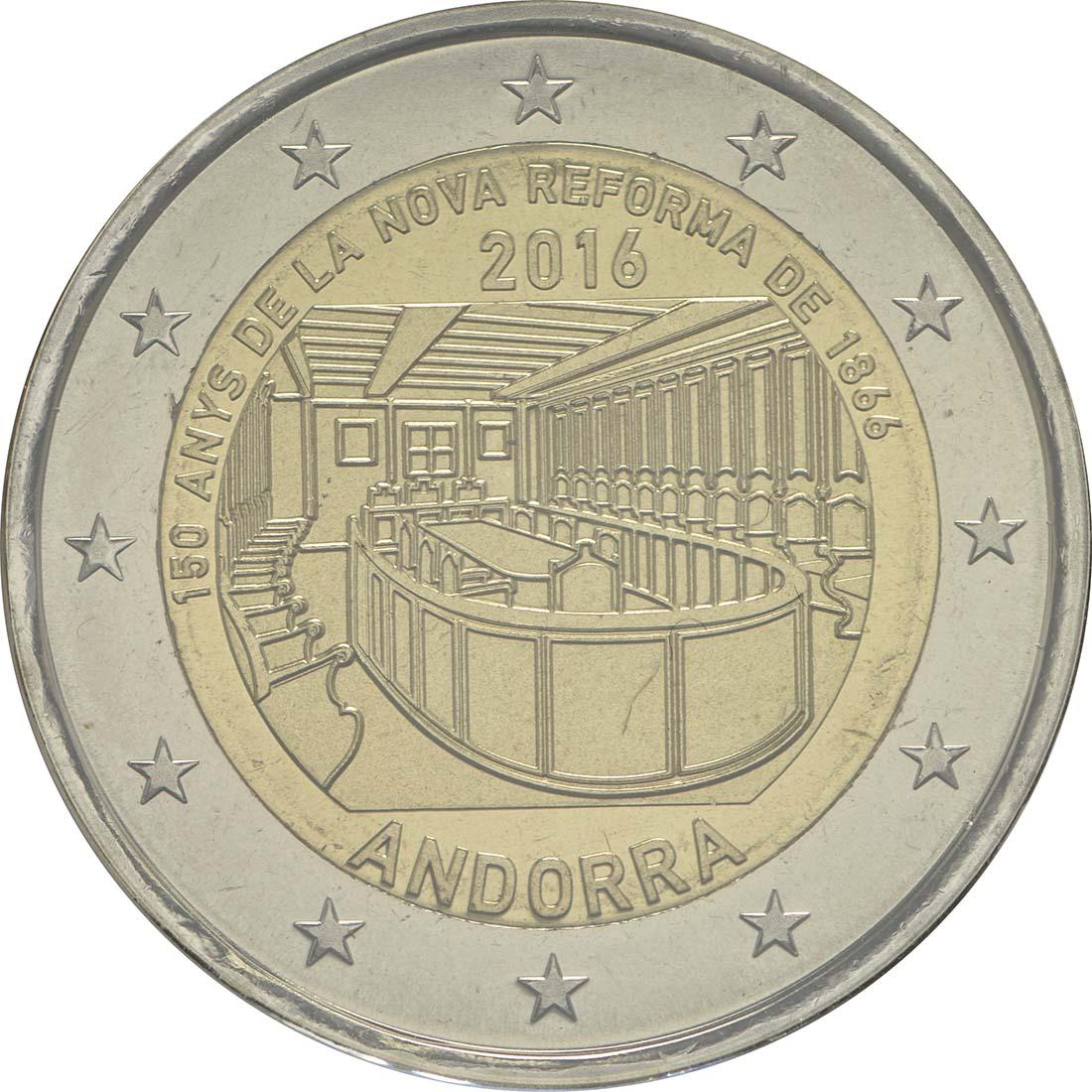 Rückseite:Andorra : 2 Euro 150-jähriges Jubiläum der Neuen Reform von 1866  2016 bfr