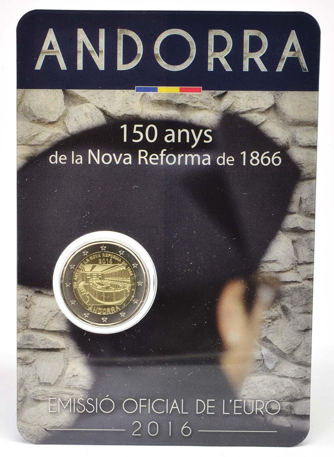 Übersicht:Andorra : 2 Euro 150-jähriges Jubiläum der Neuen Reform von 1866  2016 bfr