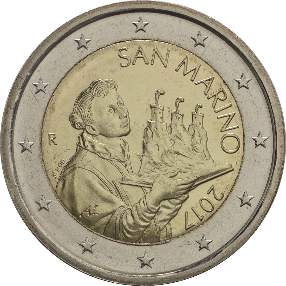 Rückseite:San Marino : 2 Euro Der Heilige Marinus  2017 bfr