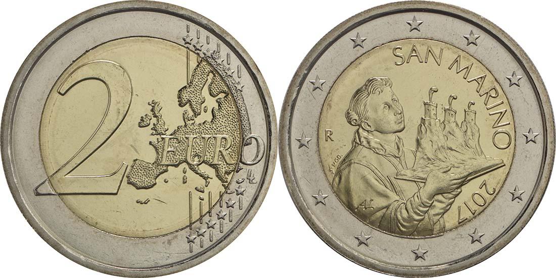 Lieferumfang:San Marino : 2 Euro Der Heilige Marinus  2017 bfr