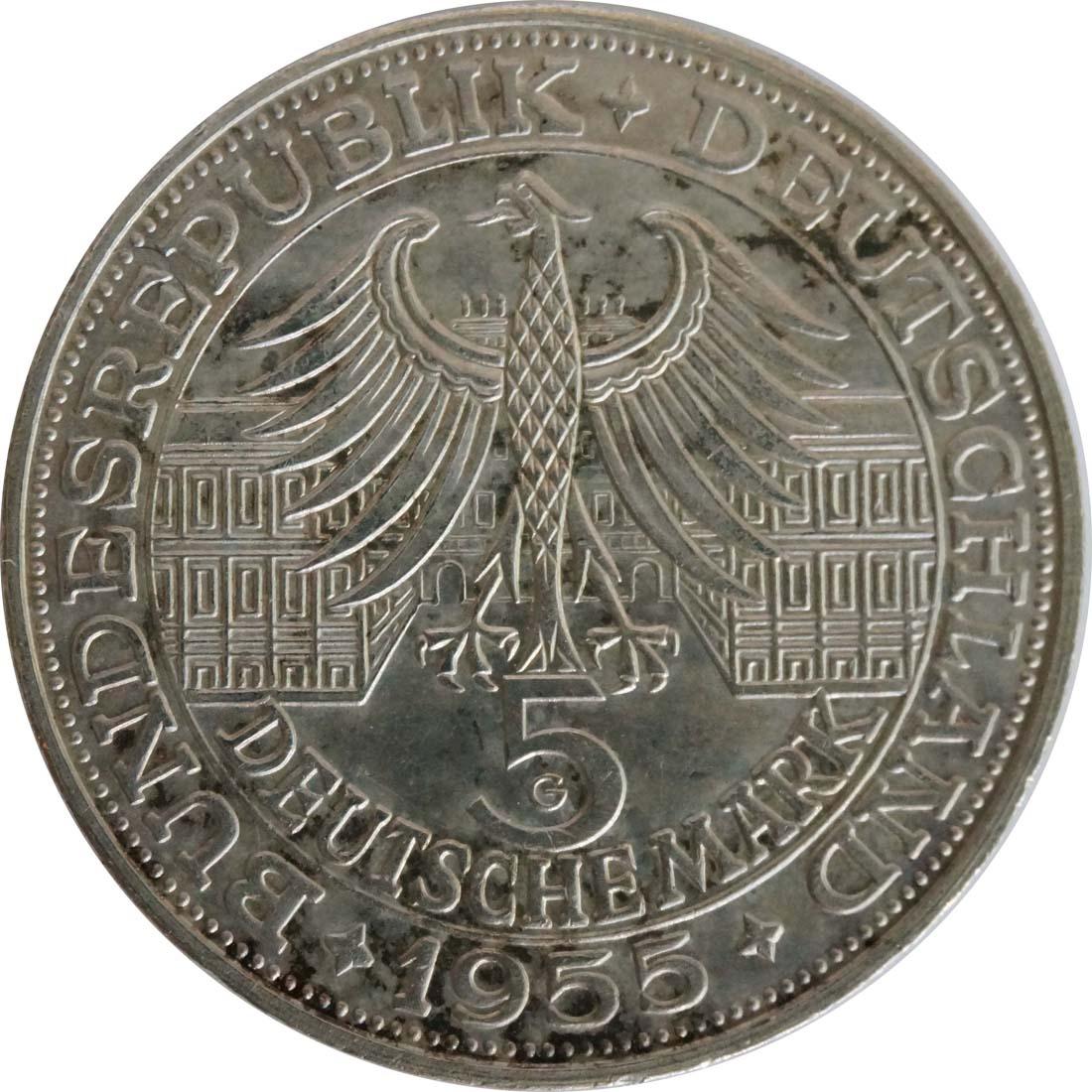 Rückseite:Deutschland : 5 DM Markgraf von Baden winz. Kratzer, patina 1955 vz.