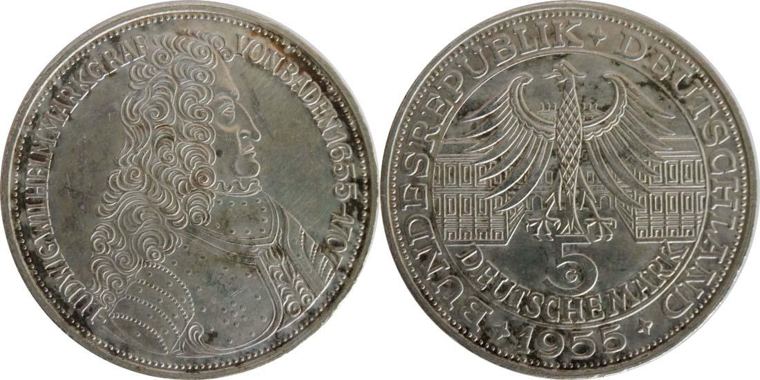 Deutschland : 5 DM Markgraf von Baden winz. Kratzer, patina 1955 vz.