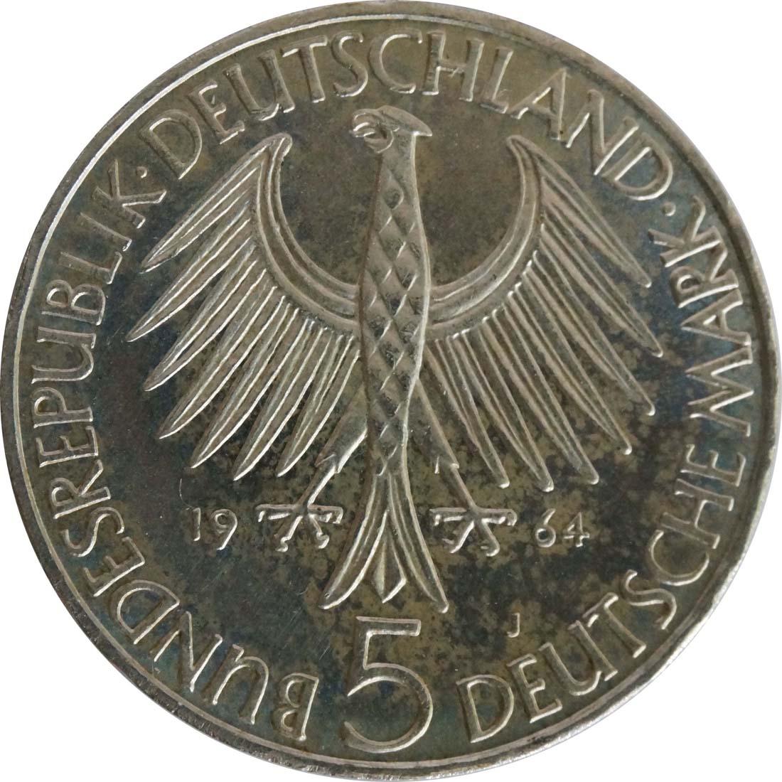 Rückseite:Deutschland : 5 DM Fichte  1964 vz/Stgl.
