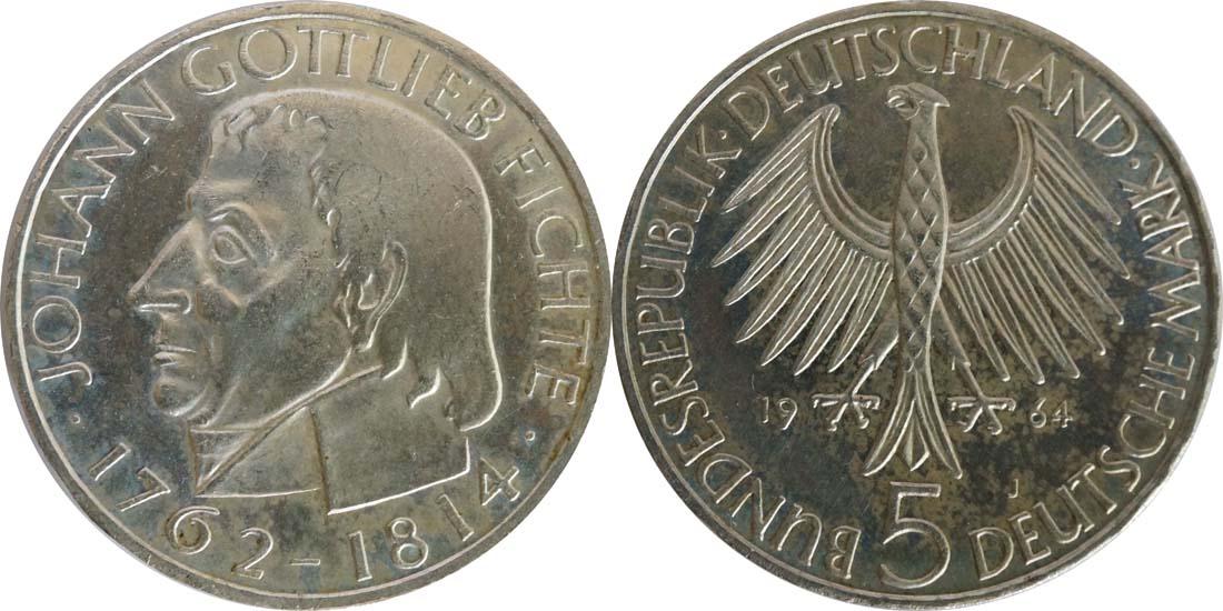 Deutschland : 5 DM Fichte  1964 vz/Stgl.