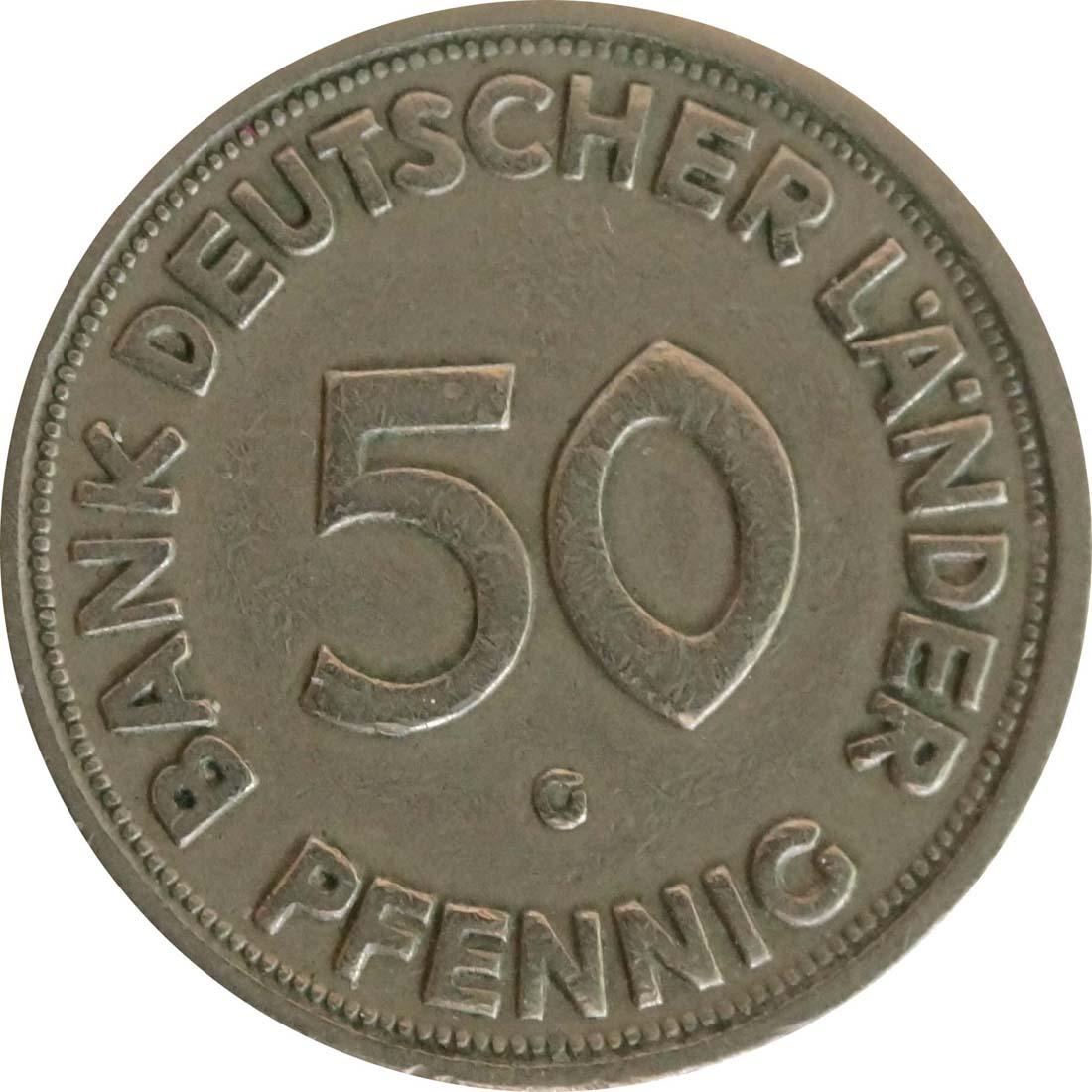 Rückseite:Deutschland : 50 Pfennig  Kursmünze Bank deutscher Länder  1950 ss.