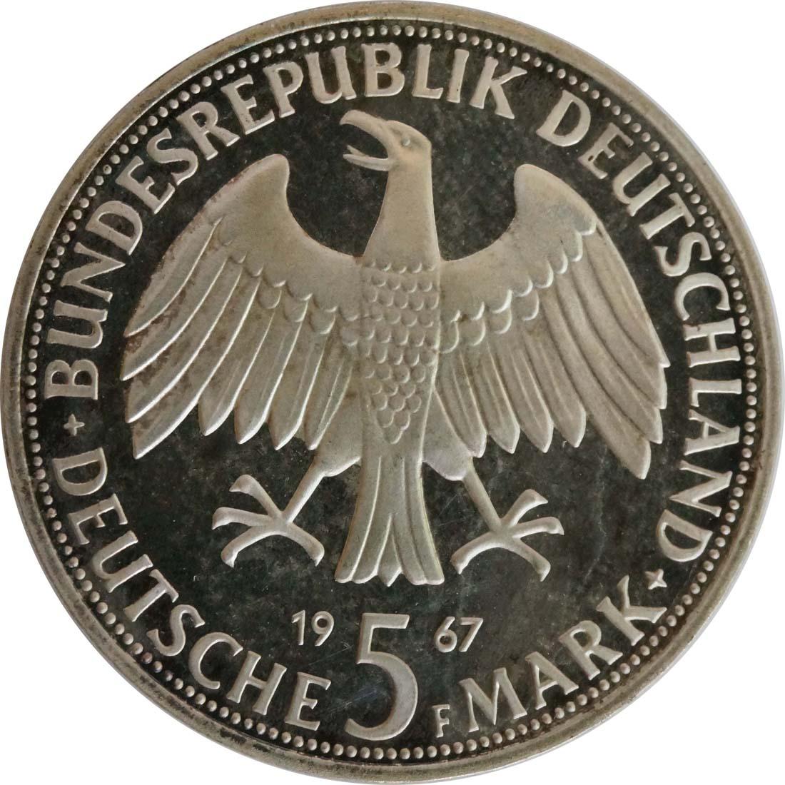 Rückseite:Deutschland : 5 DM Humboldt patina 1967 PP
