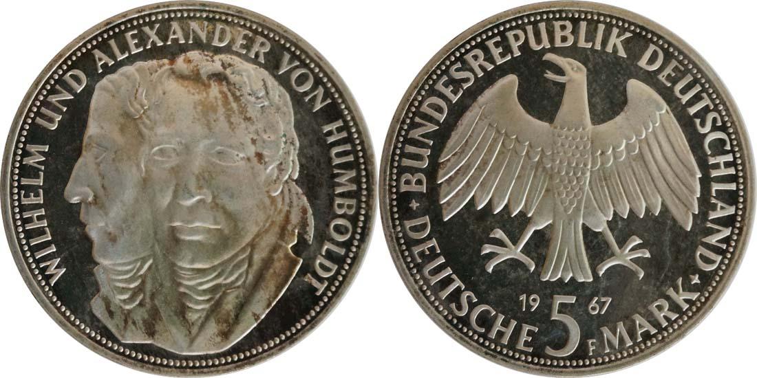 Deutschland : 5 DM Humboldt patina 1967 PP