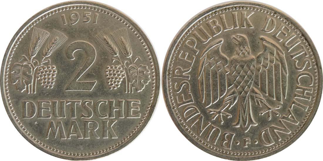 Deutschland : 2 DM Ähren  1951 ss/vz.