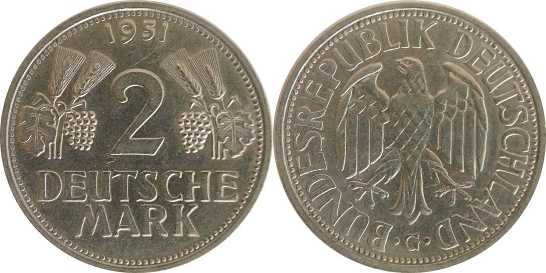 Übersicht:Deutschland : 2 DM Ähren  1951 vz/Stgl.