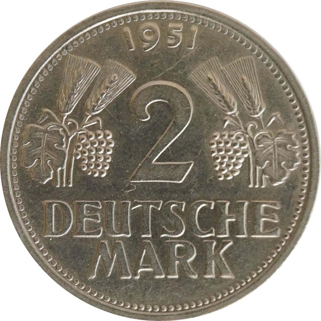 Vorderseite:Deutschland : 2 DM Ähren  1951 vz/Stgl.