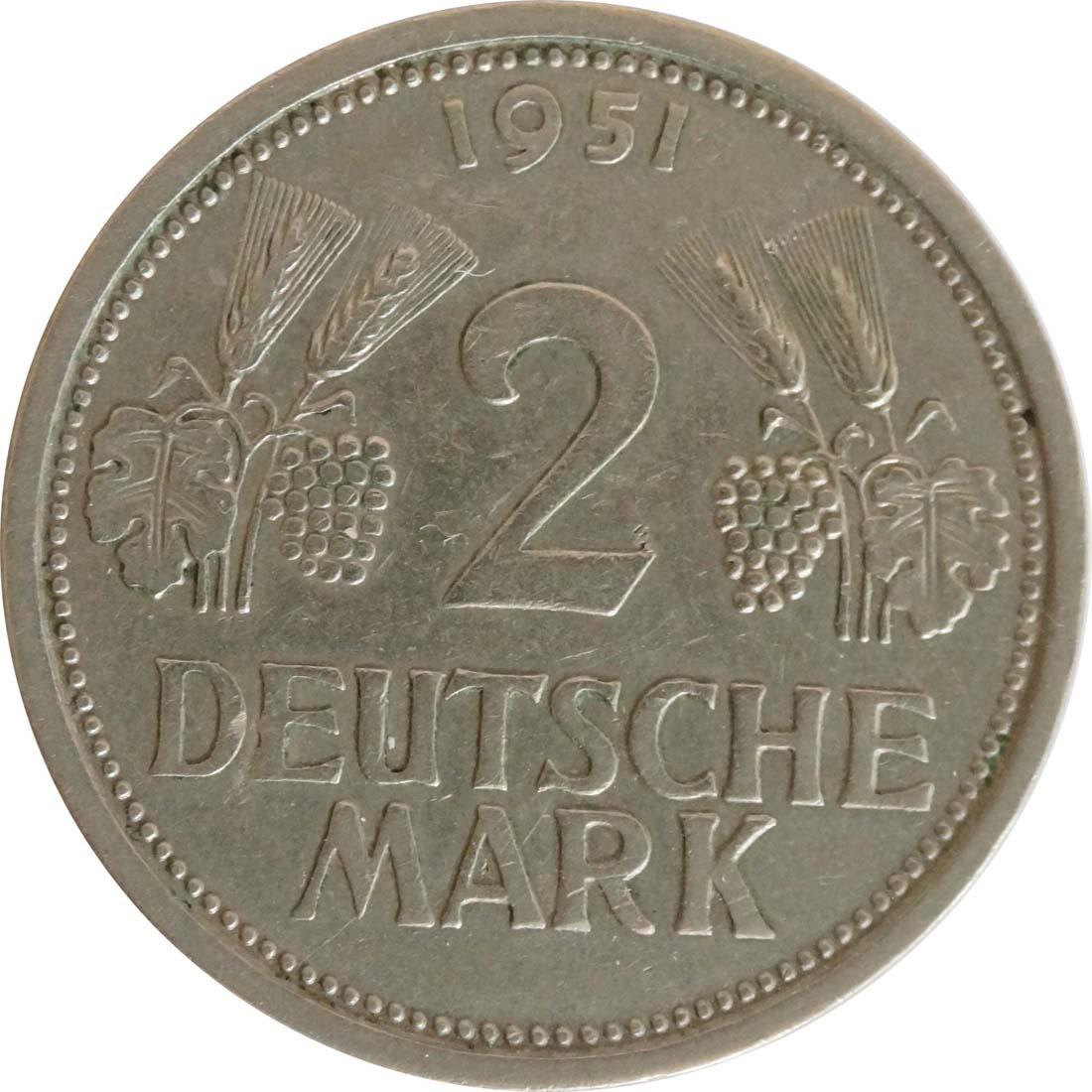 Vorderseite:Deutschland : 2 DM Ähren  1951 ss/vz.