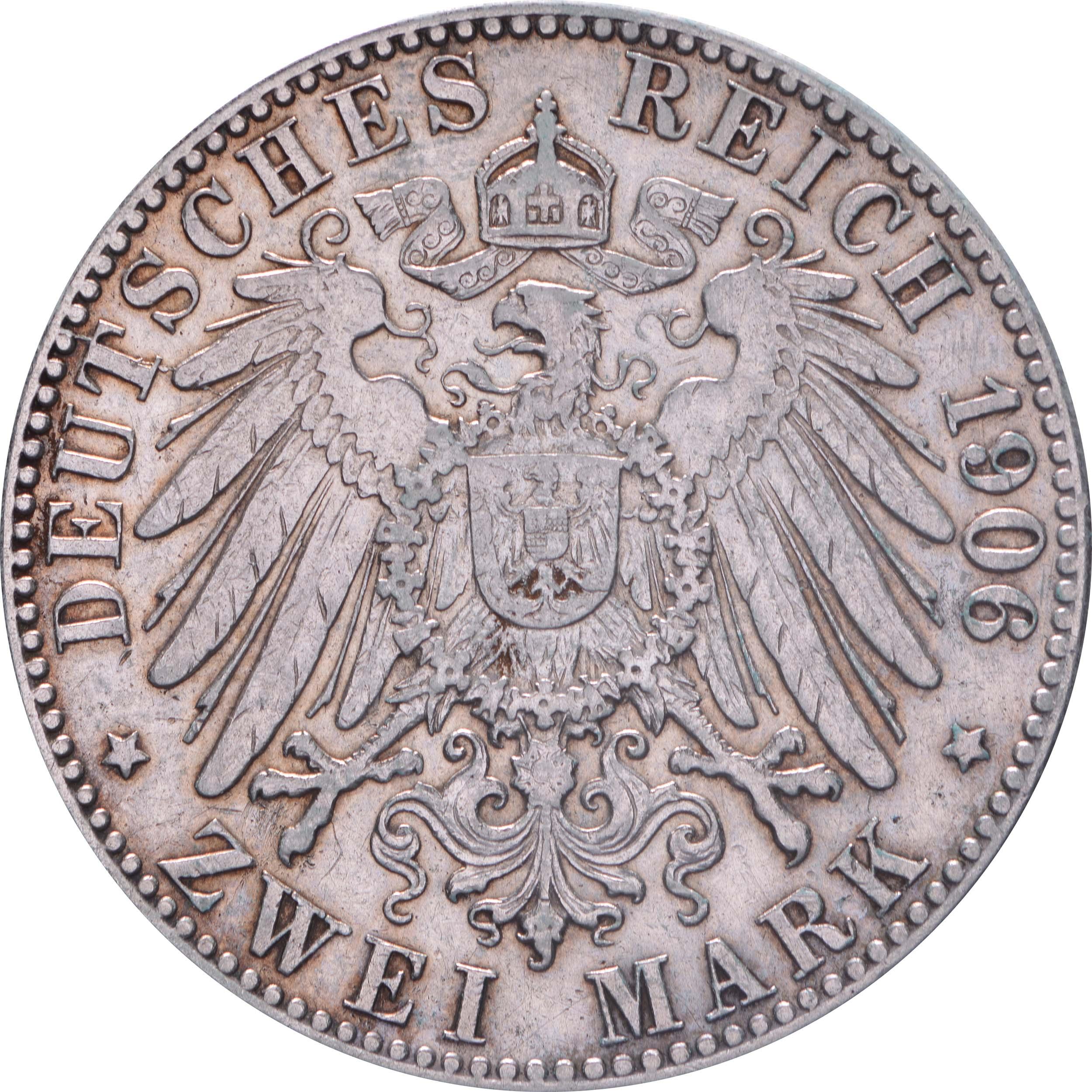 Rückseite:Deutschland : 2 Mark Stadtsiegel winz. Kratzer, patina 1906 ss/vz.