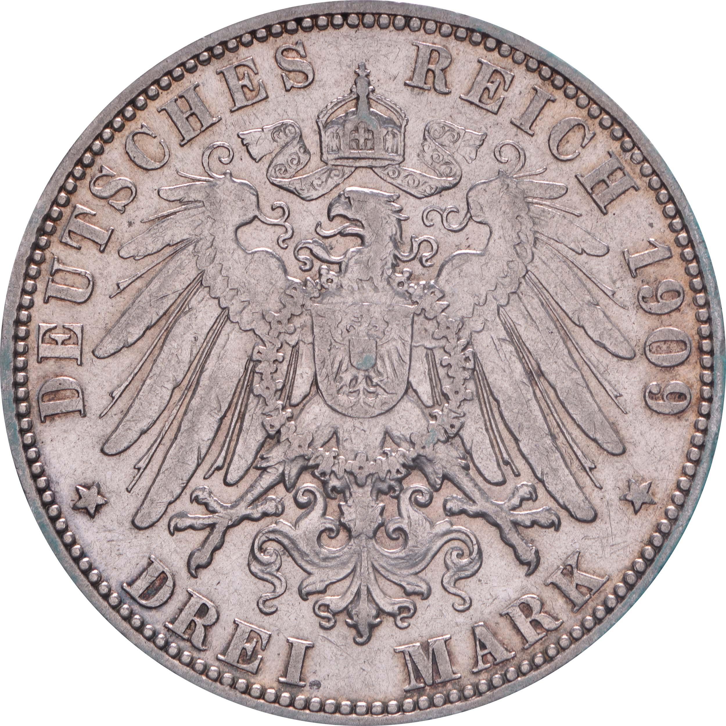 Bild der Rückseite :Deutschland - 3 Mark Stadtsiegel patina 1909 vz.