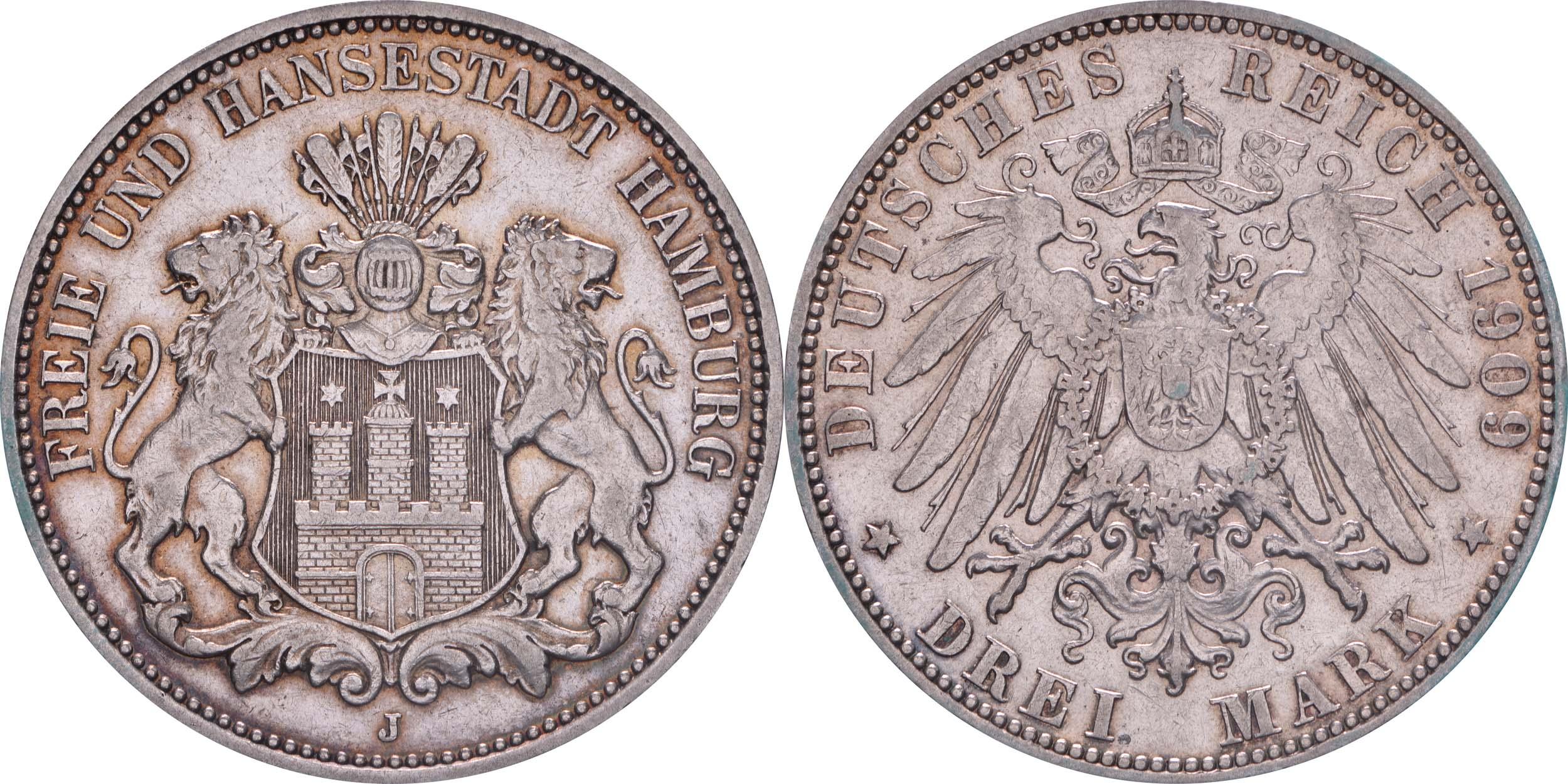 Bild des Lieferumfangs :Deutschland - 3 Mark Stadtsiegel patina 1909 vz.
