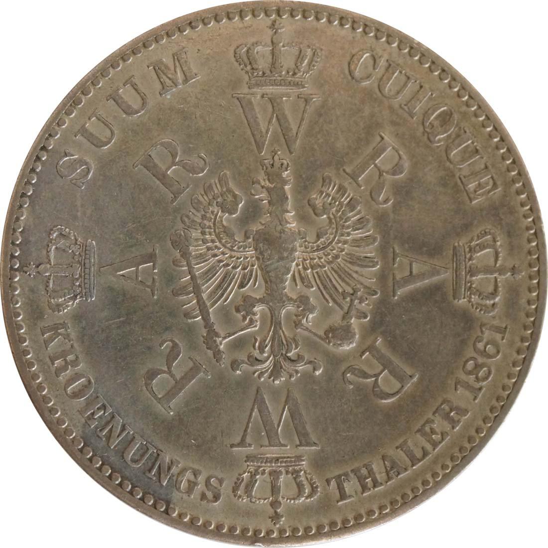 Rückseite:Deutschland : 1 Taler Krönungstaler  1861 vz.