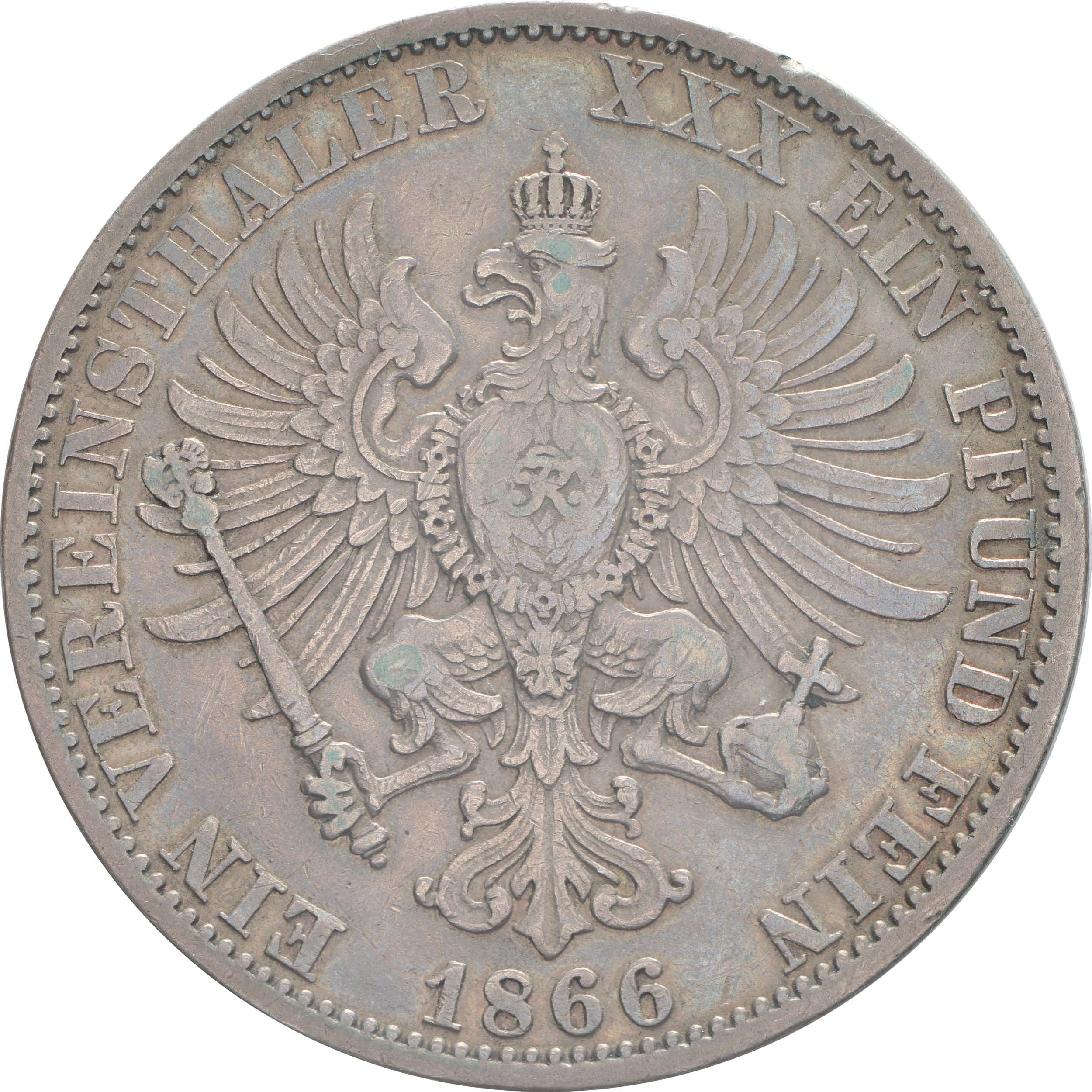 Rückseite:Deutschland : 1 Vereinstaler  patina, winz. Rs. 1866 vz.