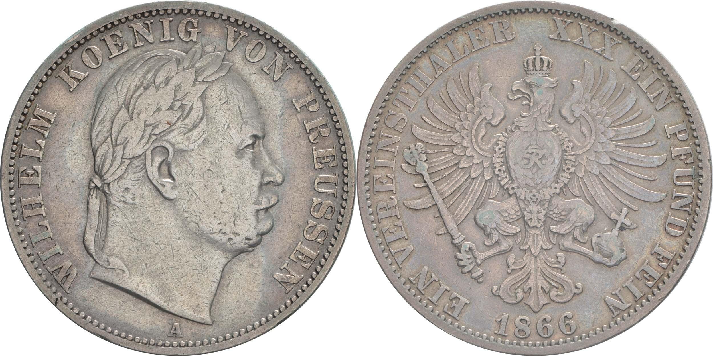Übersicht:Deutschland : 1 Vereinstaler  patina, winz. Rs. 1866 vz.