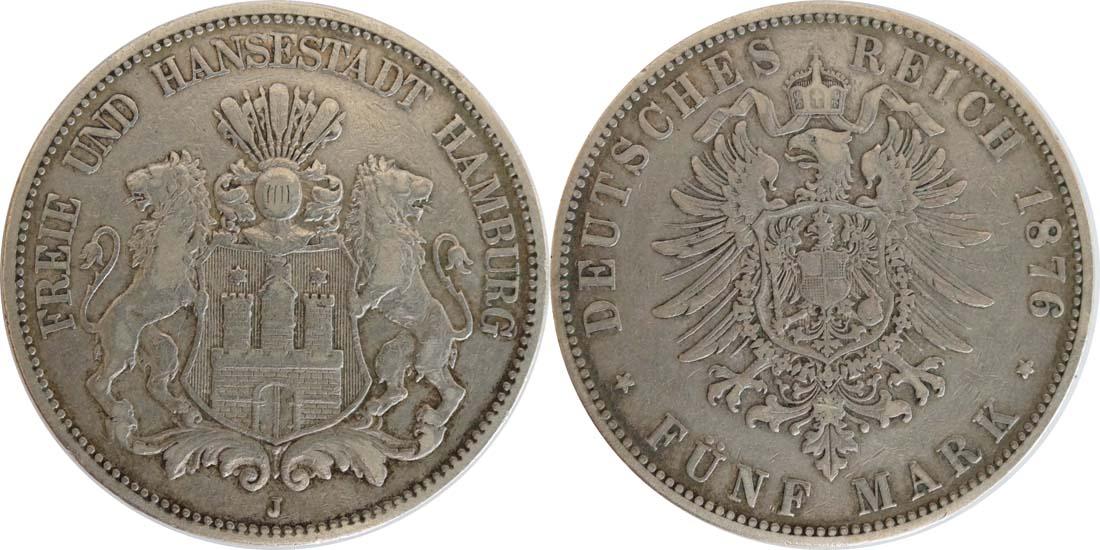 Übersicht:Deutschland : 5 Mark Stadtwappen patina 1876 ss.