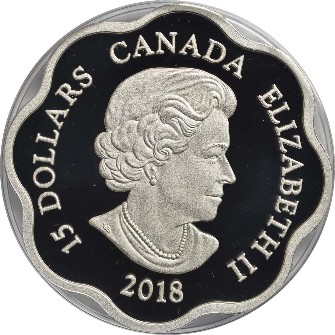 Rückseite:Kanada : 15 Dollar Jahr des Hundes/Lotus - Wellenform  2018 PP