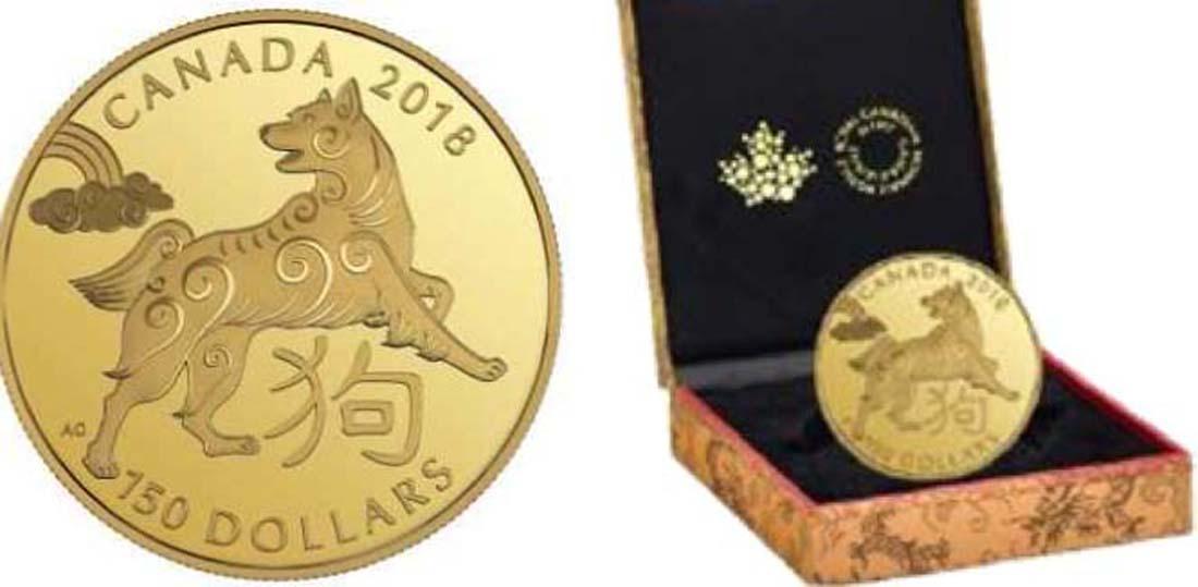 Kanada : 150 Dollar Jahr des Hundes - rund  2018 PP