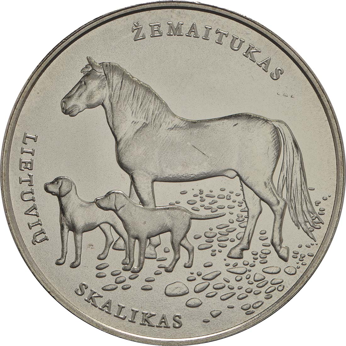 Vorderseite:Litauen : 1,5 Euro Pferd und Hund  2017 bfr