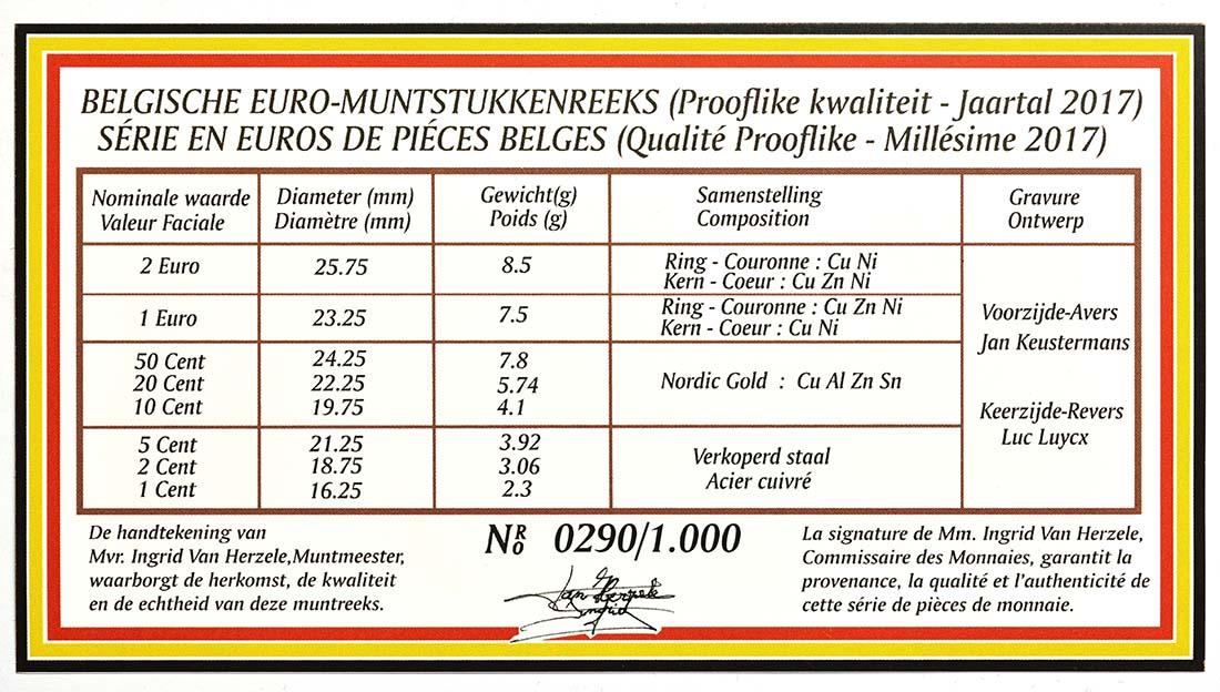 Zertifikat:Belgien : 3,88 Euro KMS Belgien  2017 PP