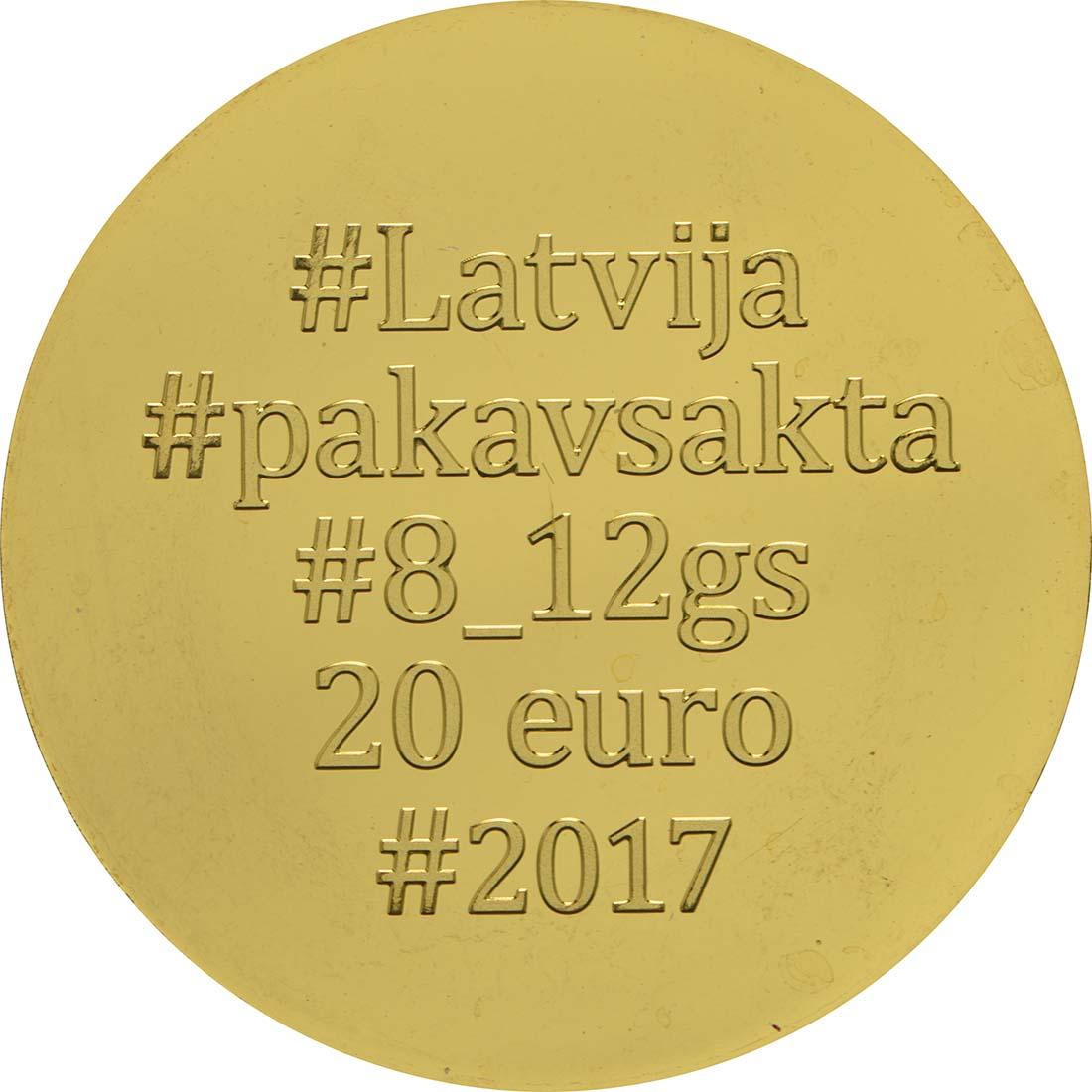 Rückseite:Lettland : 20 Euro Hufeisenbrosche (Horseshoe Fibula)  2017 PP