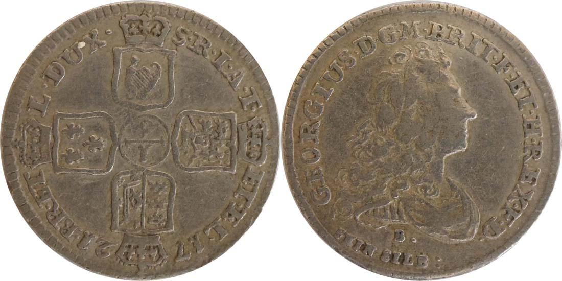 Deutschland : 1/6 Taler Georg Ludwig als Georg I 1714 - 1727 -selten- 1721 ss.