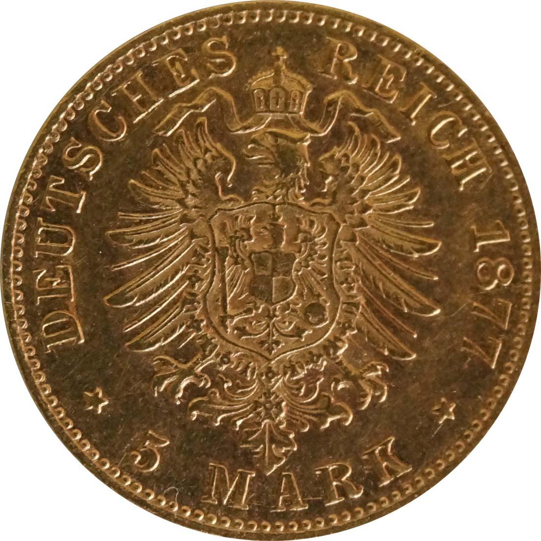 Rückseite :Deutschland : 5 Mark   1877 ss/vz.