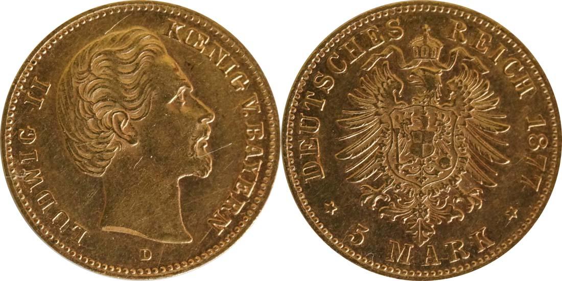 Deutschland : 5 Mark   1877 ss/vz.